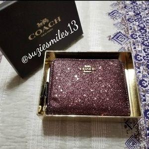 Coach Heart Glitter Small Zip Around Wallet